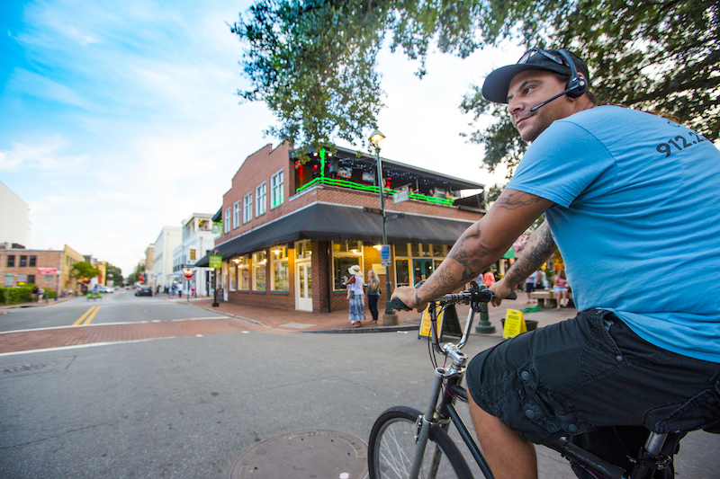 Savannah Pedicab driver rides through City Market