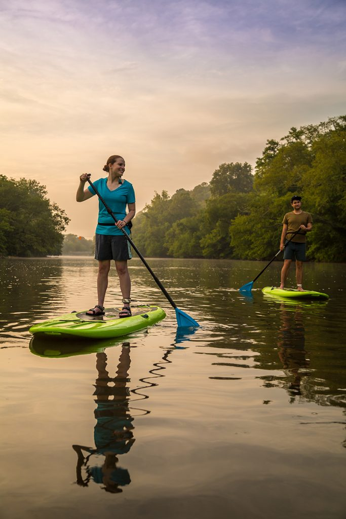 Paddle boarding on the French Broad river in Asheville
